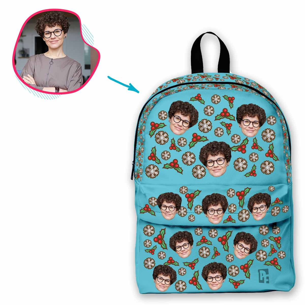 blue Mistletoe classic backpack personalized with photo of face printed on it