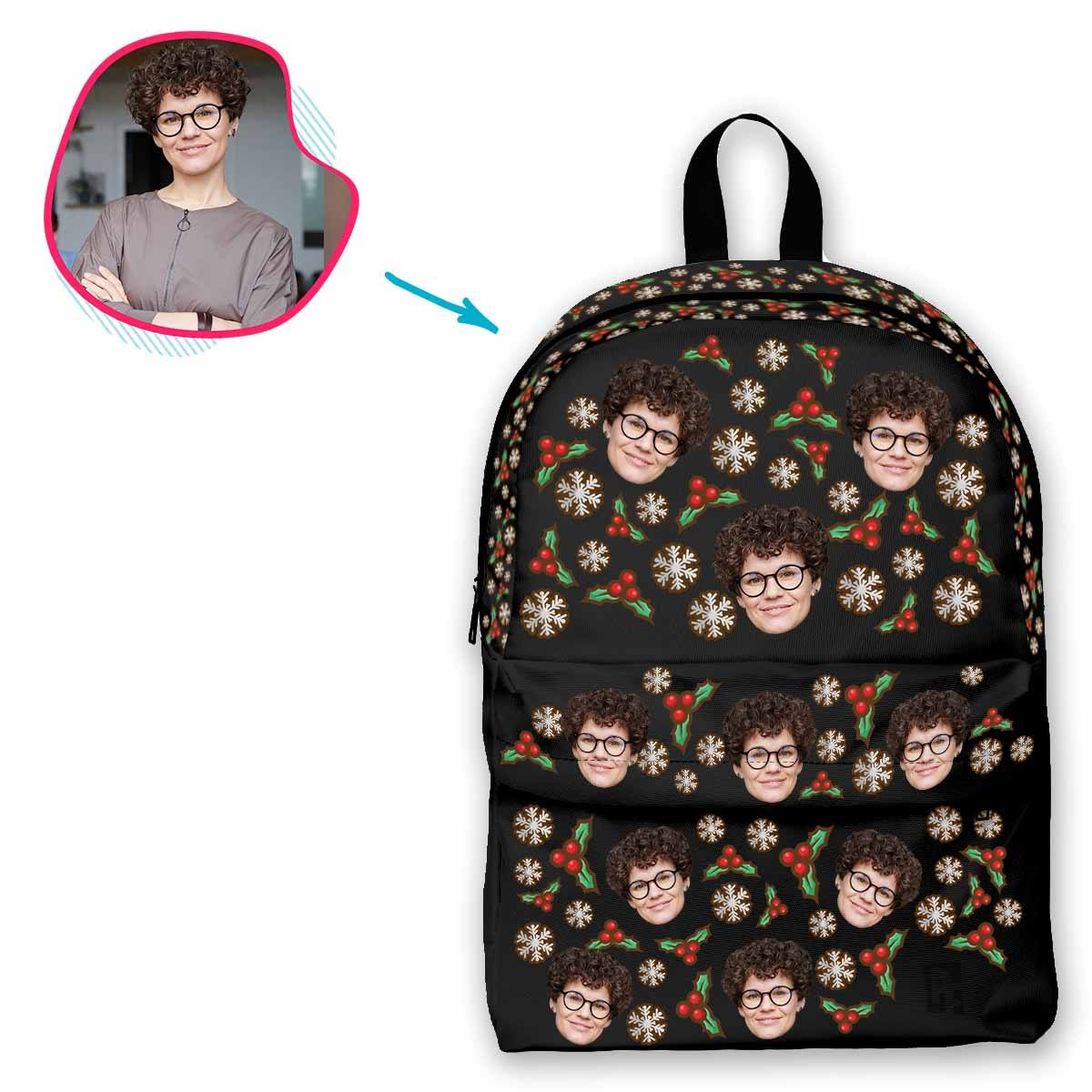 dark Mistletoe classic backpack personalized with photo of face printed on it