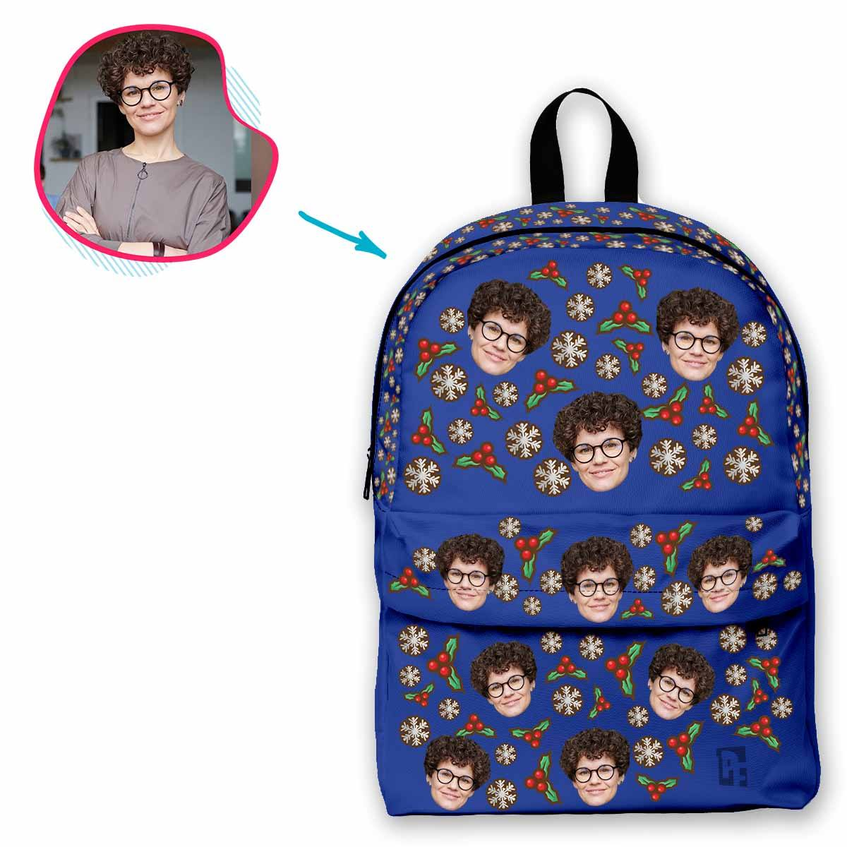 darkblue Mistletoe classic backpack personalized with photo of face printed on it