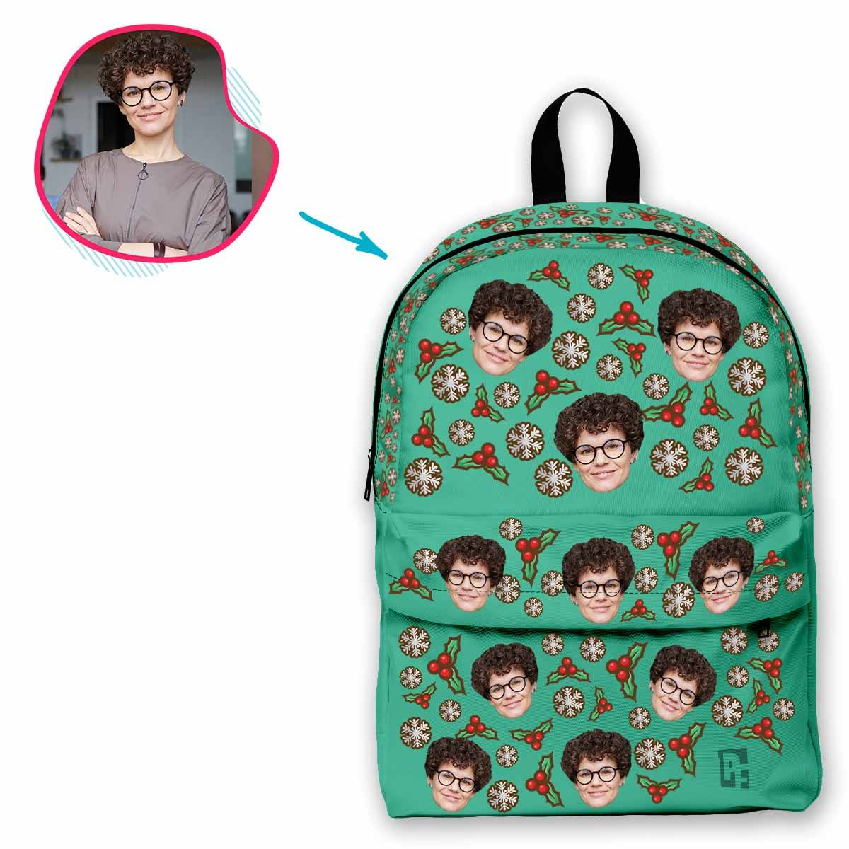 mint Mistletoe classic backpack personalized with photo of face printed on it