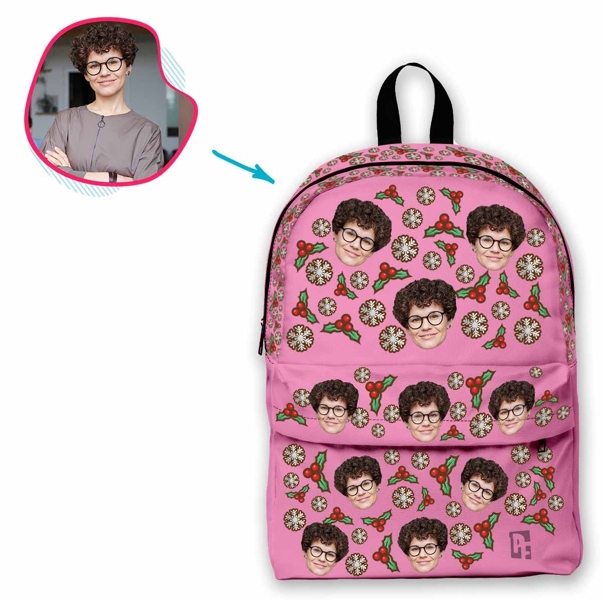 pink Mistletoe classic backpack personalized with photo of face printed on it
