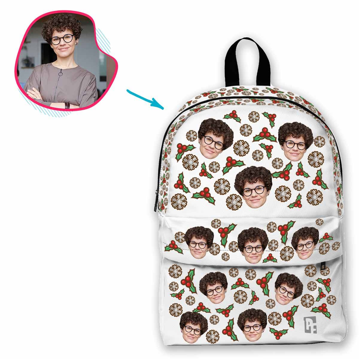white Mistletoe classic backpack personalized with photo of face printed on it