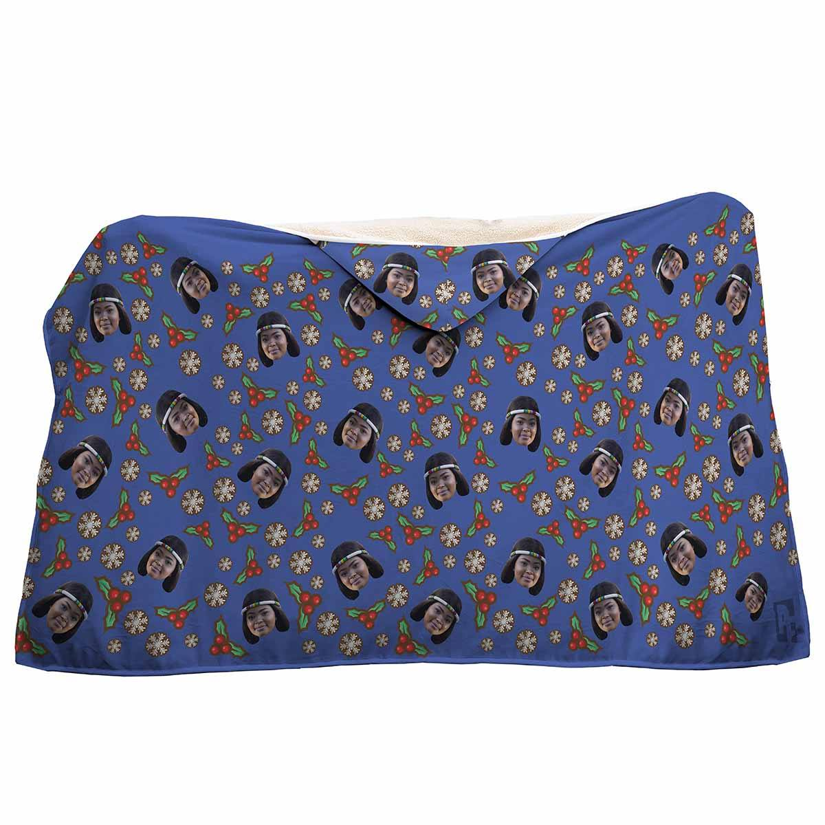 darkblue Mistletoe hooded blanket personalized with photo of face printed on it