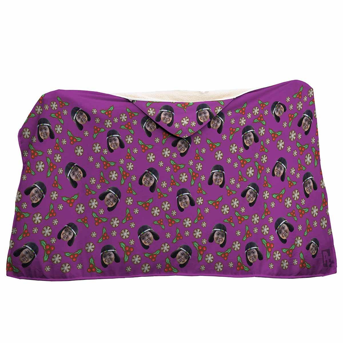 purple Mistletoe hooded blanket personalized with photo of face printed on it