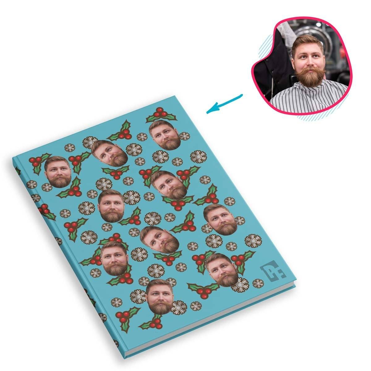blue Mistletoe Notebook personalized with photo of face printed on them