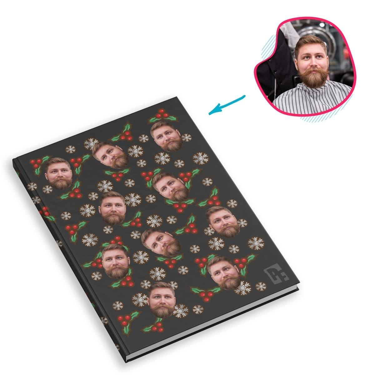 dark Mistletoe Notebook personalized with photo of face printed on them