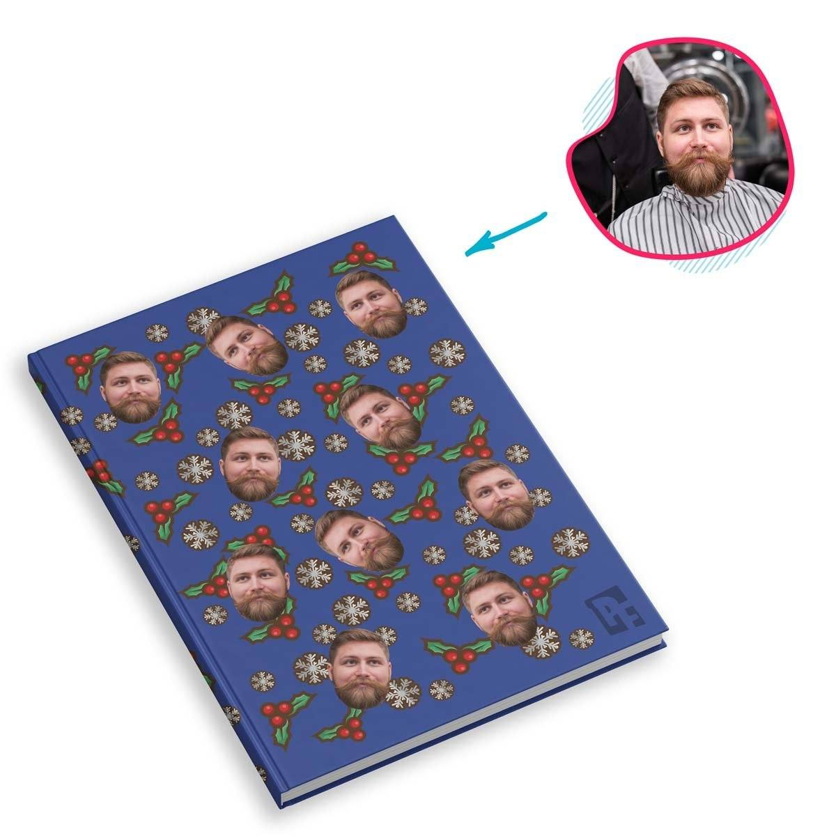 darkblue Mistletoe Notebook personalized with photo of face printed on them
