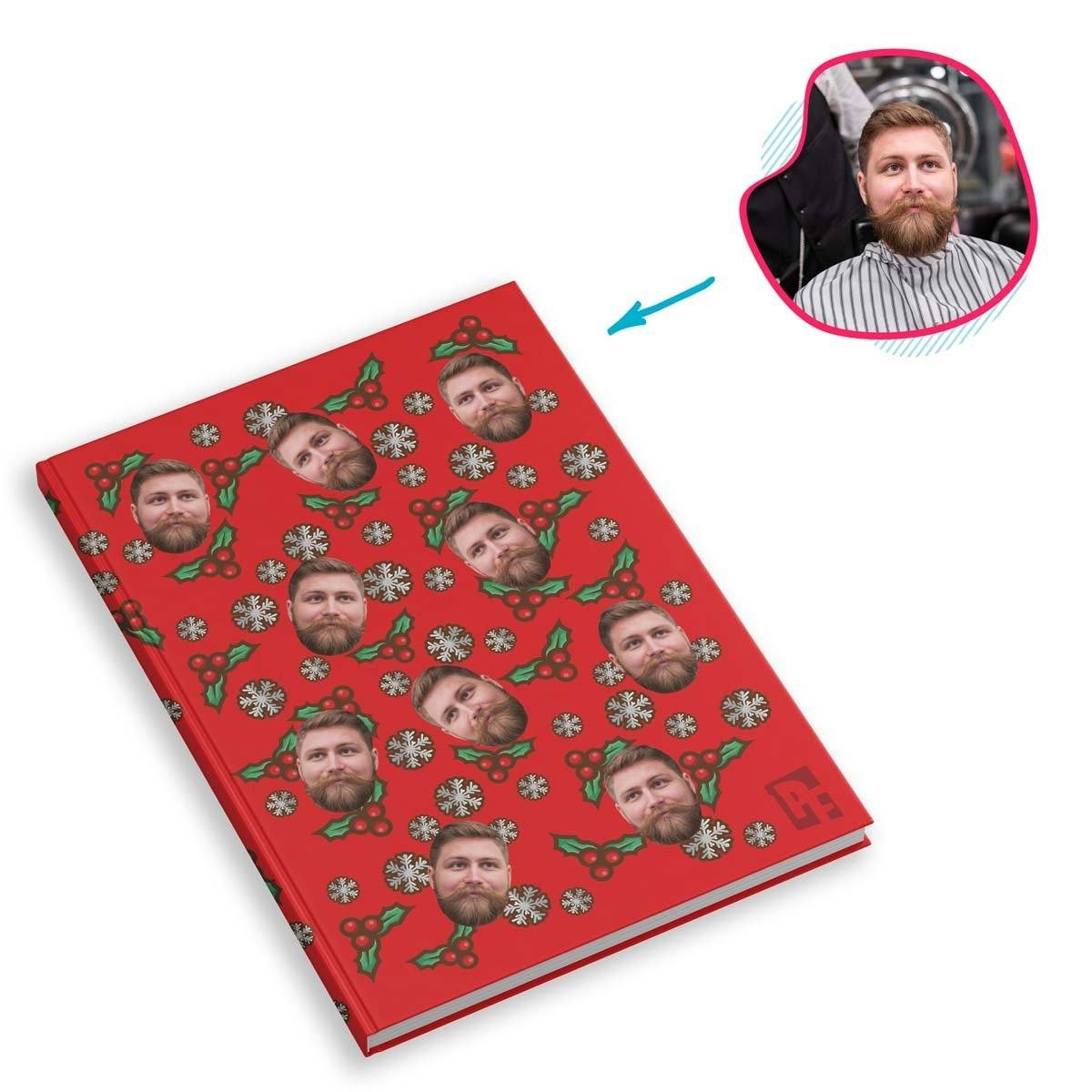 red Mistletoe Notebook personalized with photo of face printed on them