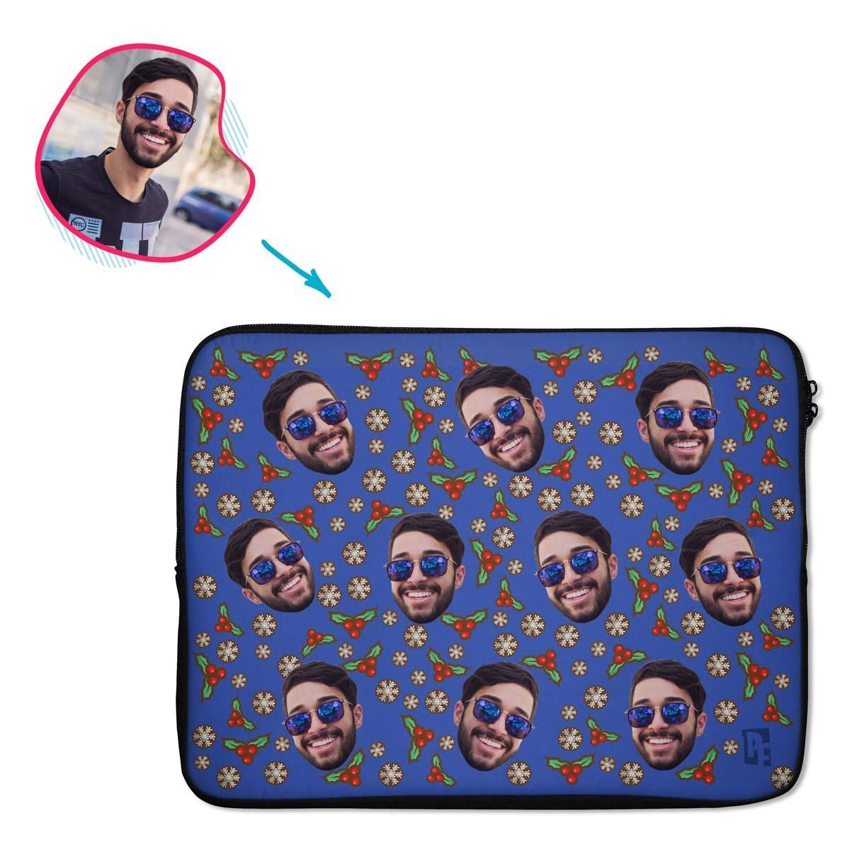 darkblue Mistletoe laptop sleeve personalized with photo of face printed on them