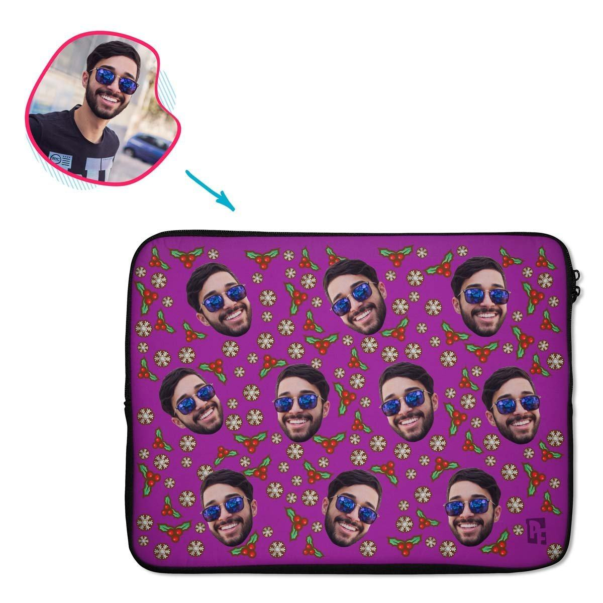 purple Mistletoe laptop sleeve personalized with photo of face printed on them
