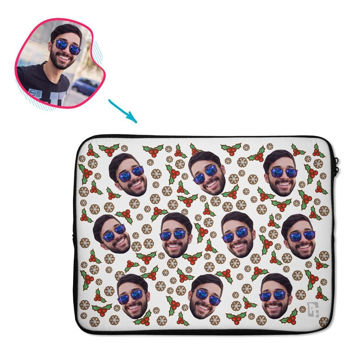 white Mistletoe laptop sleeve personalized with photo of face printed on them