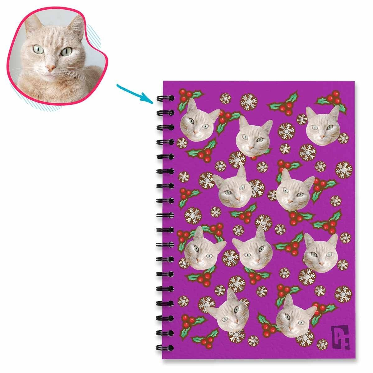 purple Mistletoe Notebook personalized with photo of face printed on them