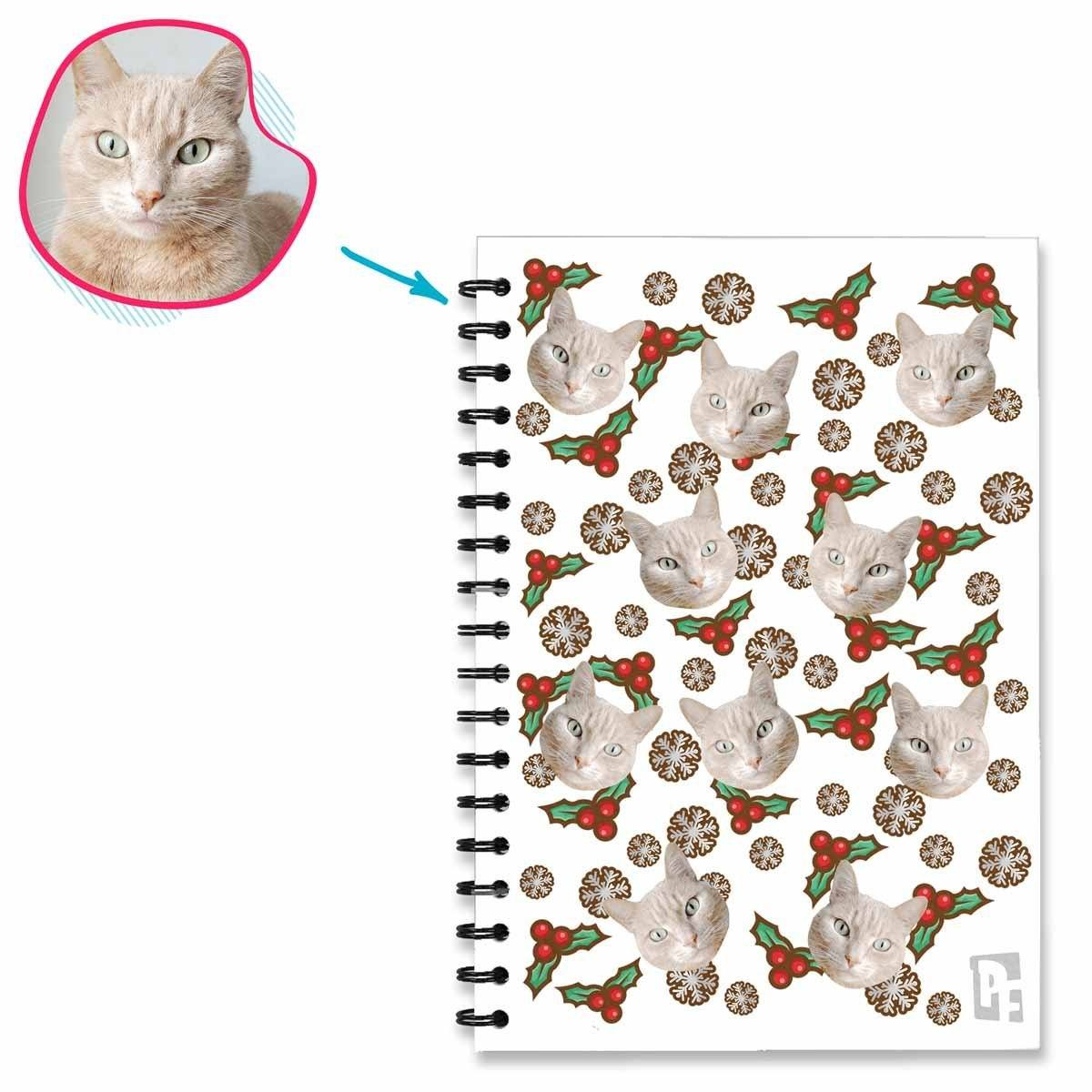 white Mistletoe Notebook personalized with photo of face printed on them