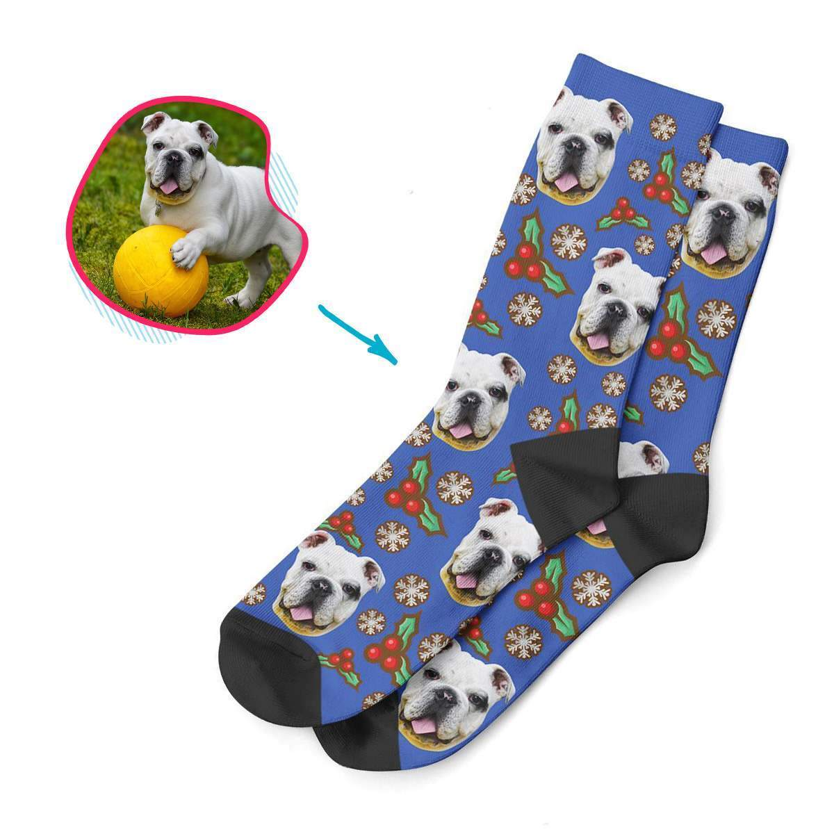 darkblue Mistletoe socks personalized with photo of face printed on them