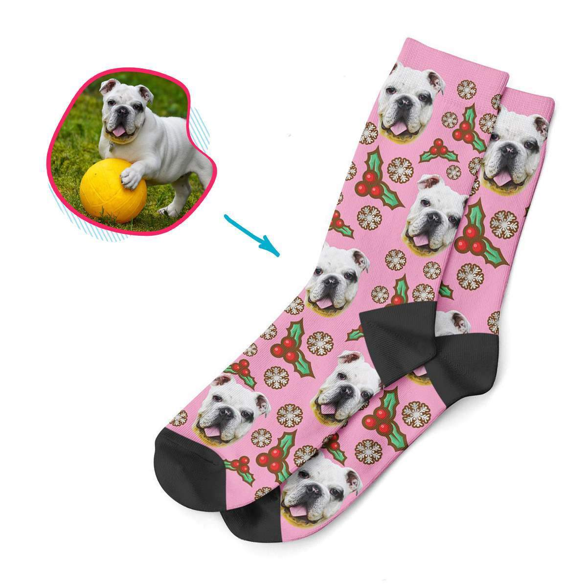 pink Mistletoe socks personalized with photo of face printed on them