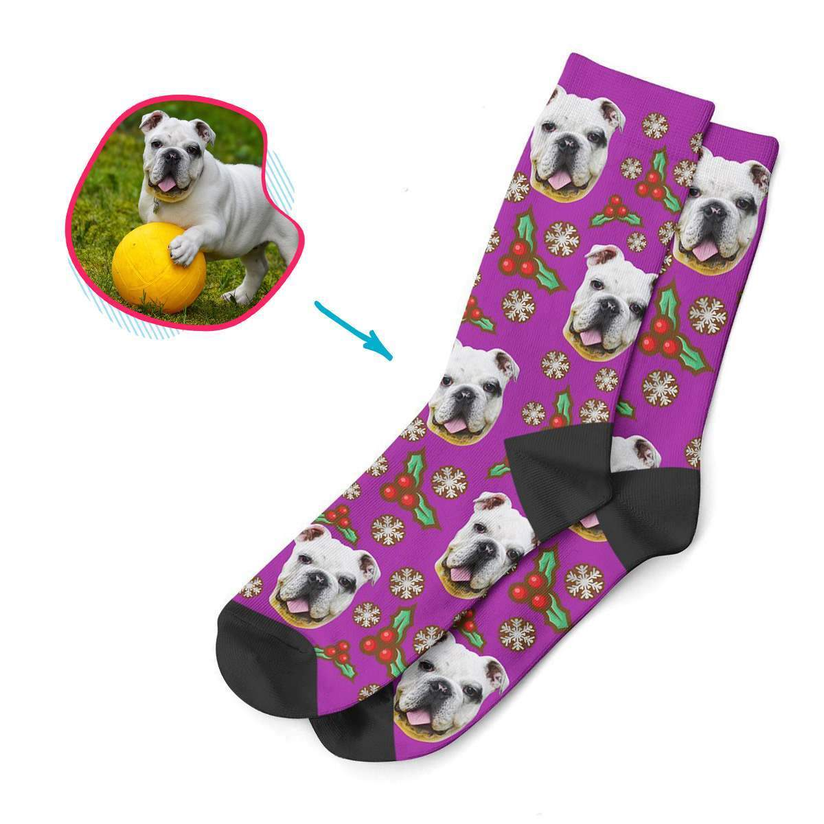 purple Mistletoe socks personalized with photo of face printed on them