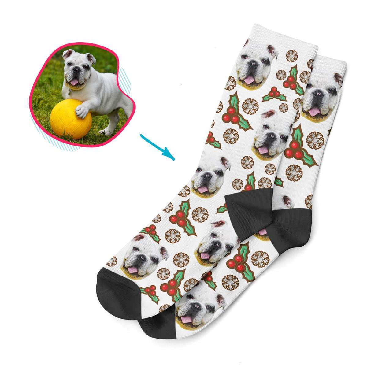 white Mistletoe socks personalized with photo of face printed on them