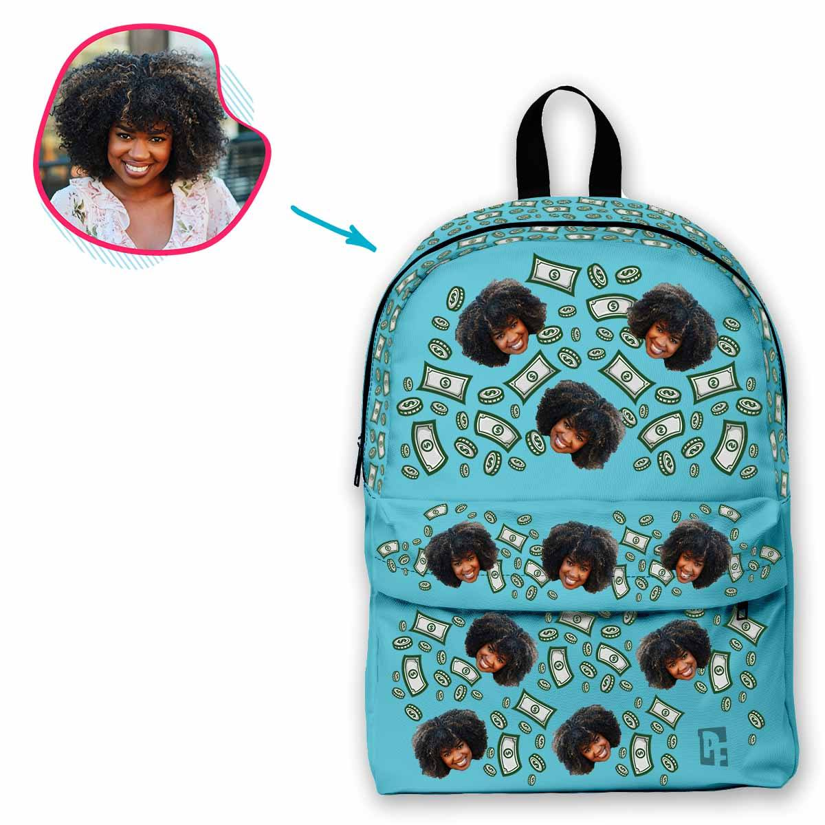 blue Money classic backpack personalized with photo of face printed on it