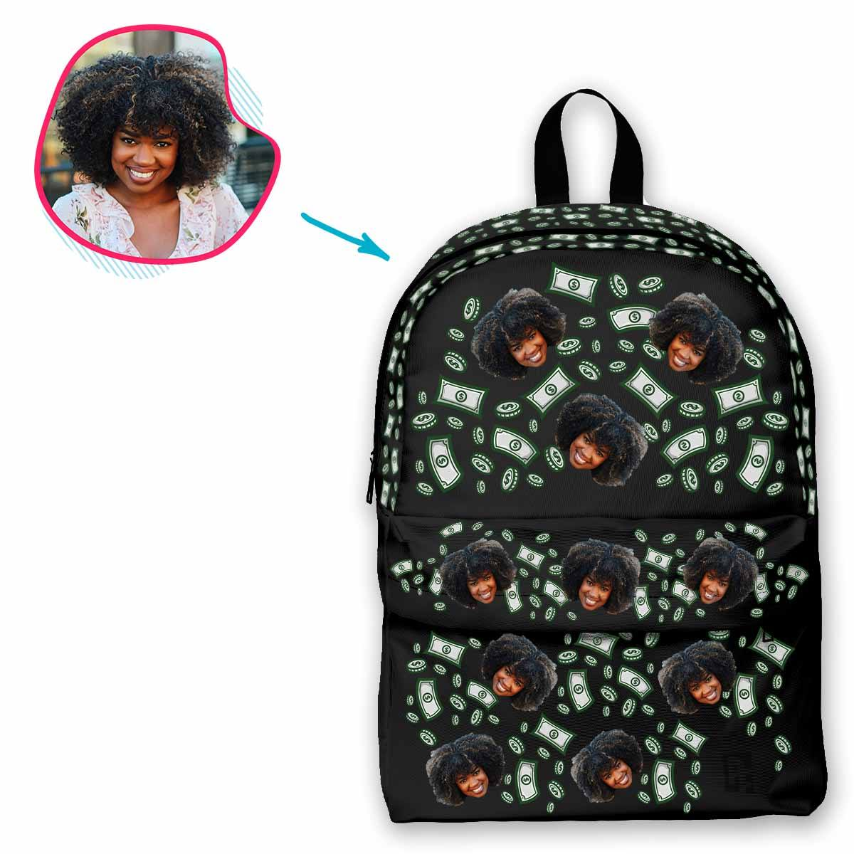 dark Money classic backpack personalized with photo of face printed on it