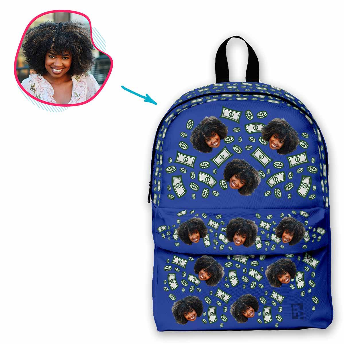 darkblue Money classic backpack personalized with photo of face printed on it