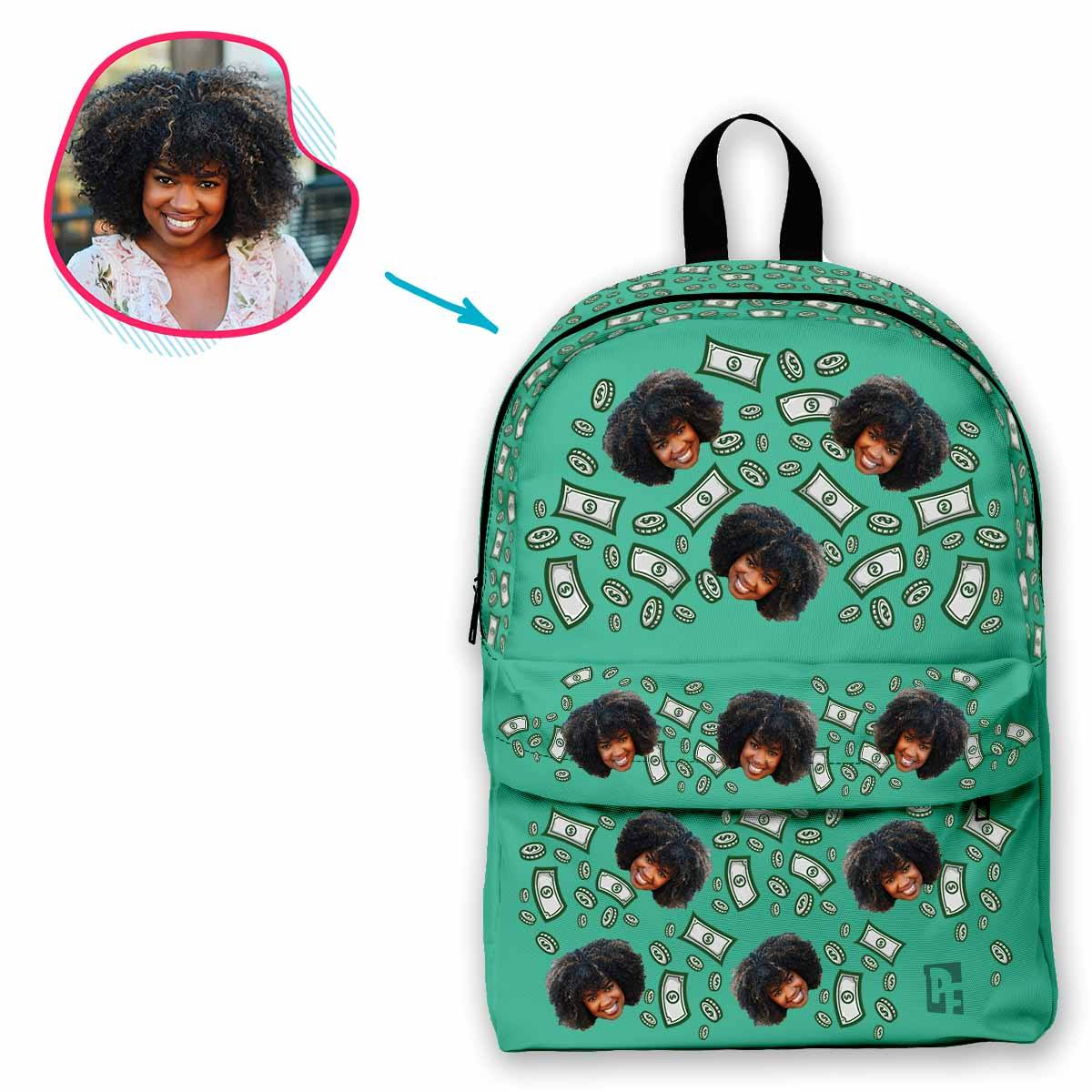 mint Money classic backpack personalized with photo of face printed on it
