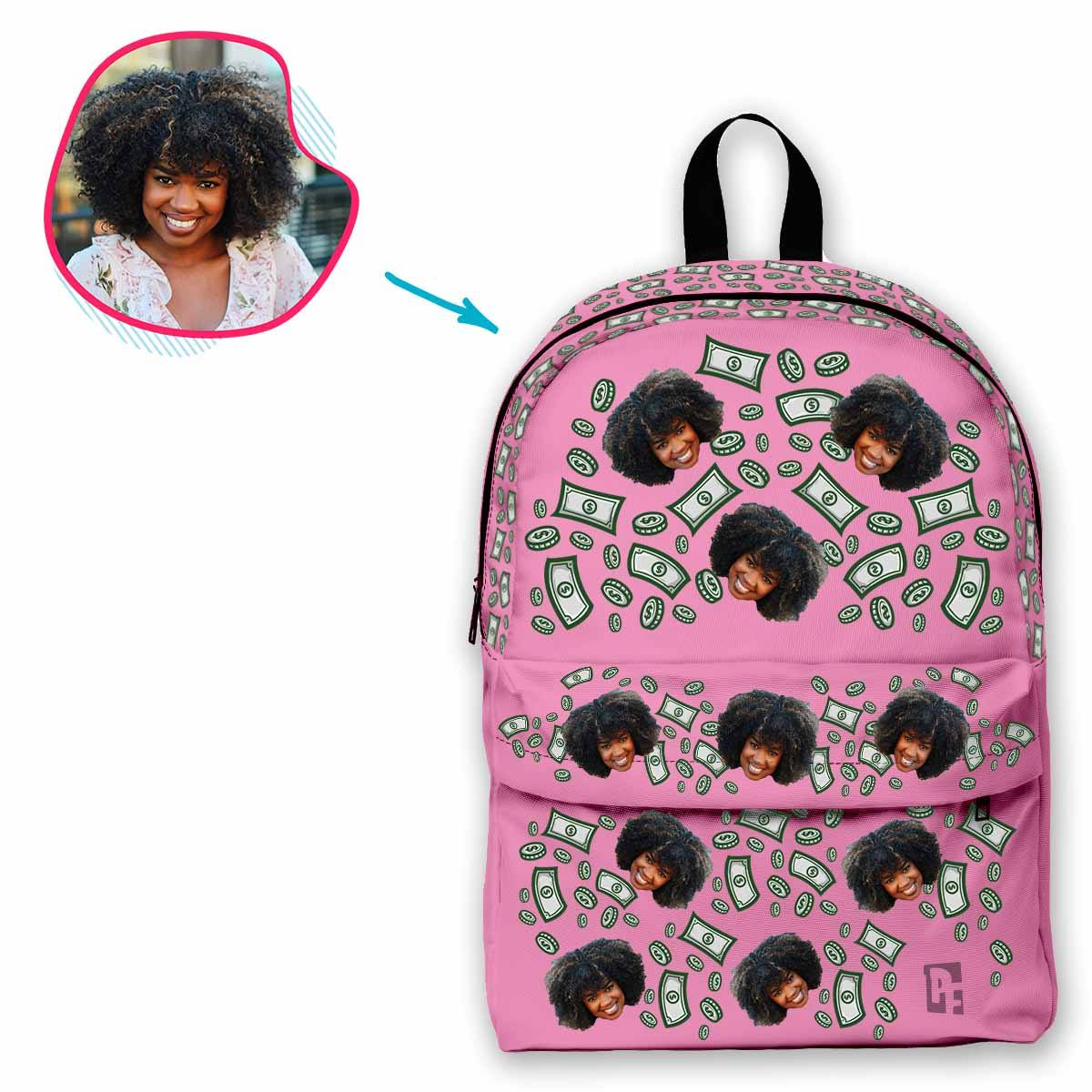 pink Money classic backpack personalized with photo of face printed on it