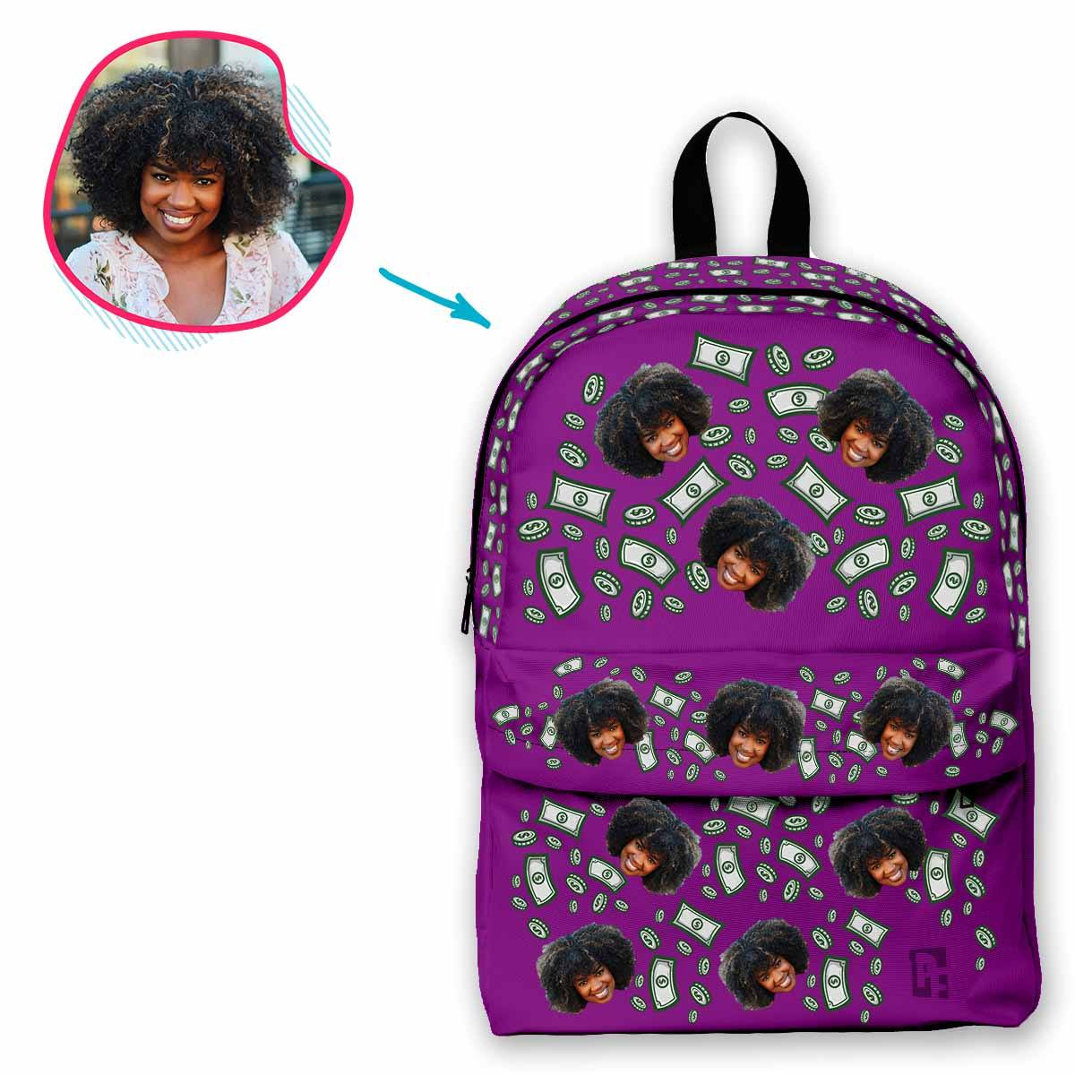 purple Money classic backpack personalized with photo of face printed on it
