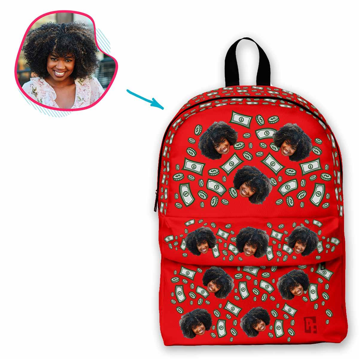 red Money classic backpack personalized with photo of face printed on it
