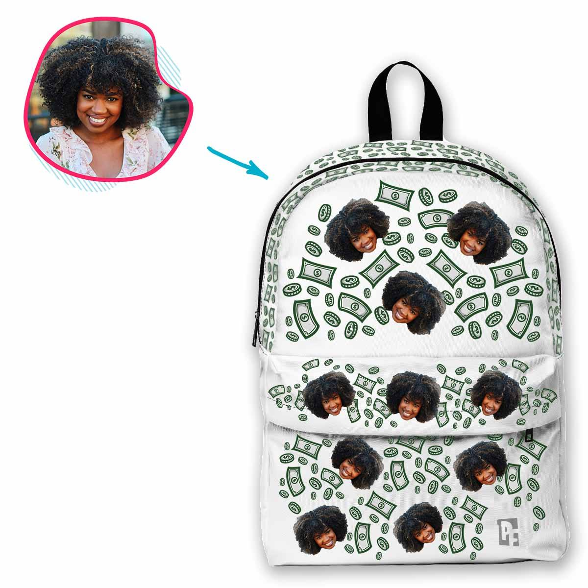 white Money classic backpack personalized with photo of face printed on it