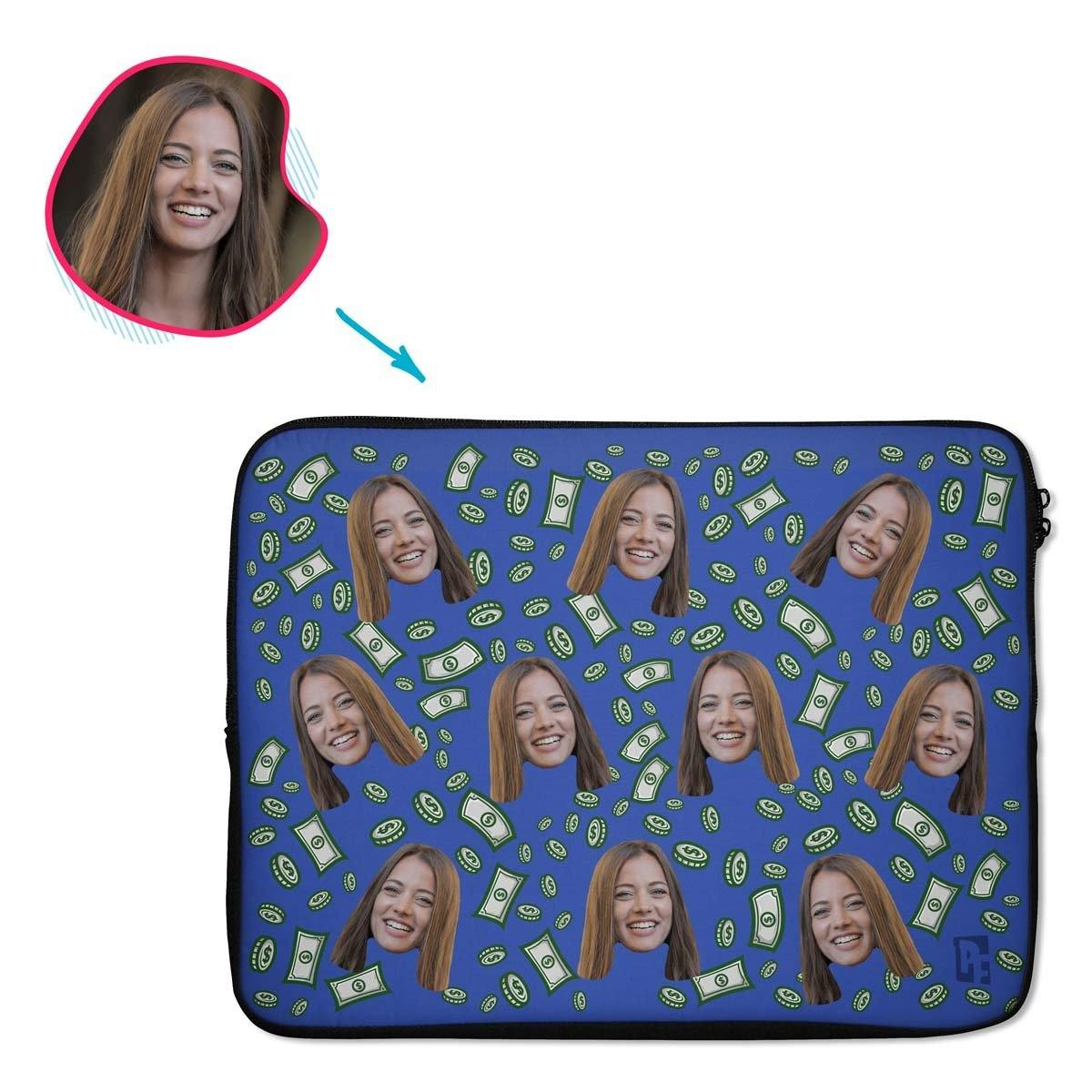 darkblue Money laptop sleeve personalized with photo of face printed on them