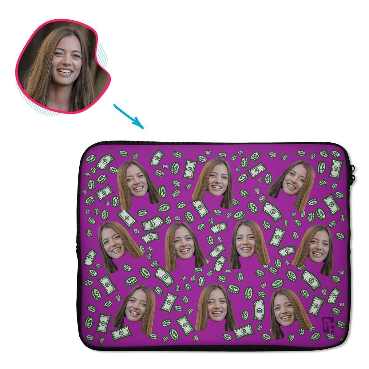 purple Money laptop sleeve personalized with photo of face printed on them