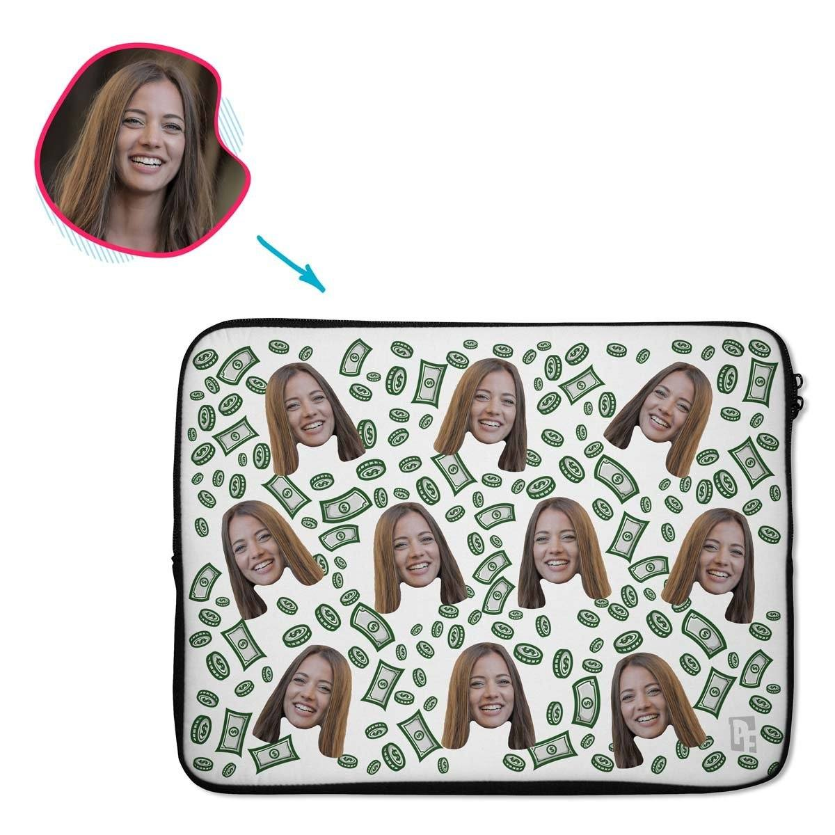 white Money laptop sleeve personalized with photo of face printed on them