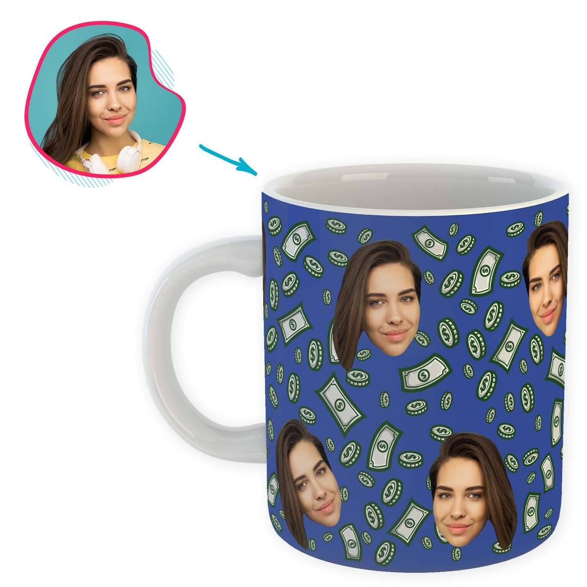 darkblue Money mug personalized with photo of face printed on it