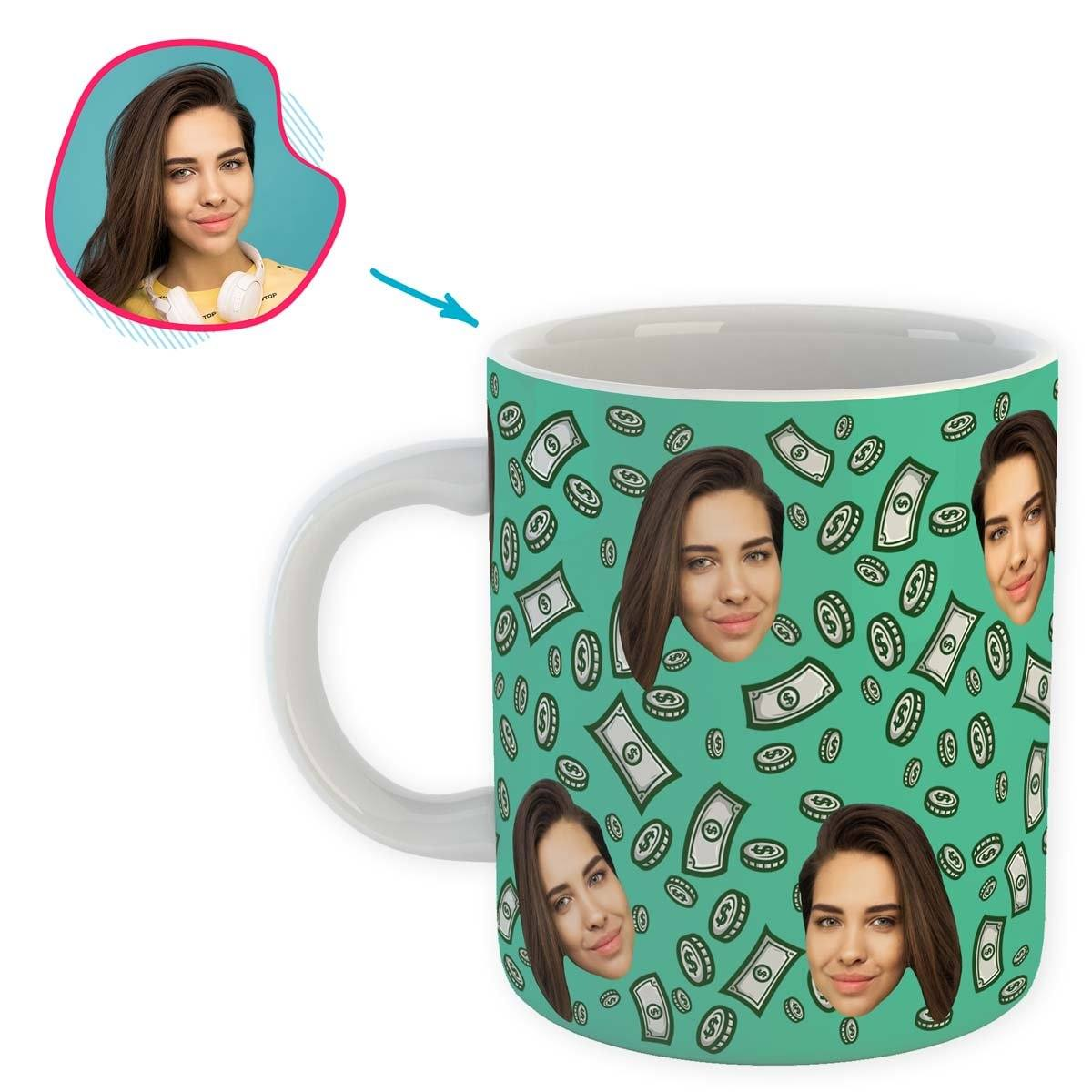 mint Money mug personalized with photo of face printed on it