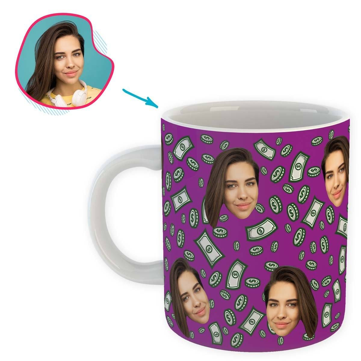 purple Money mug personalized with photo of face printed on it