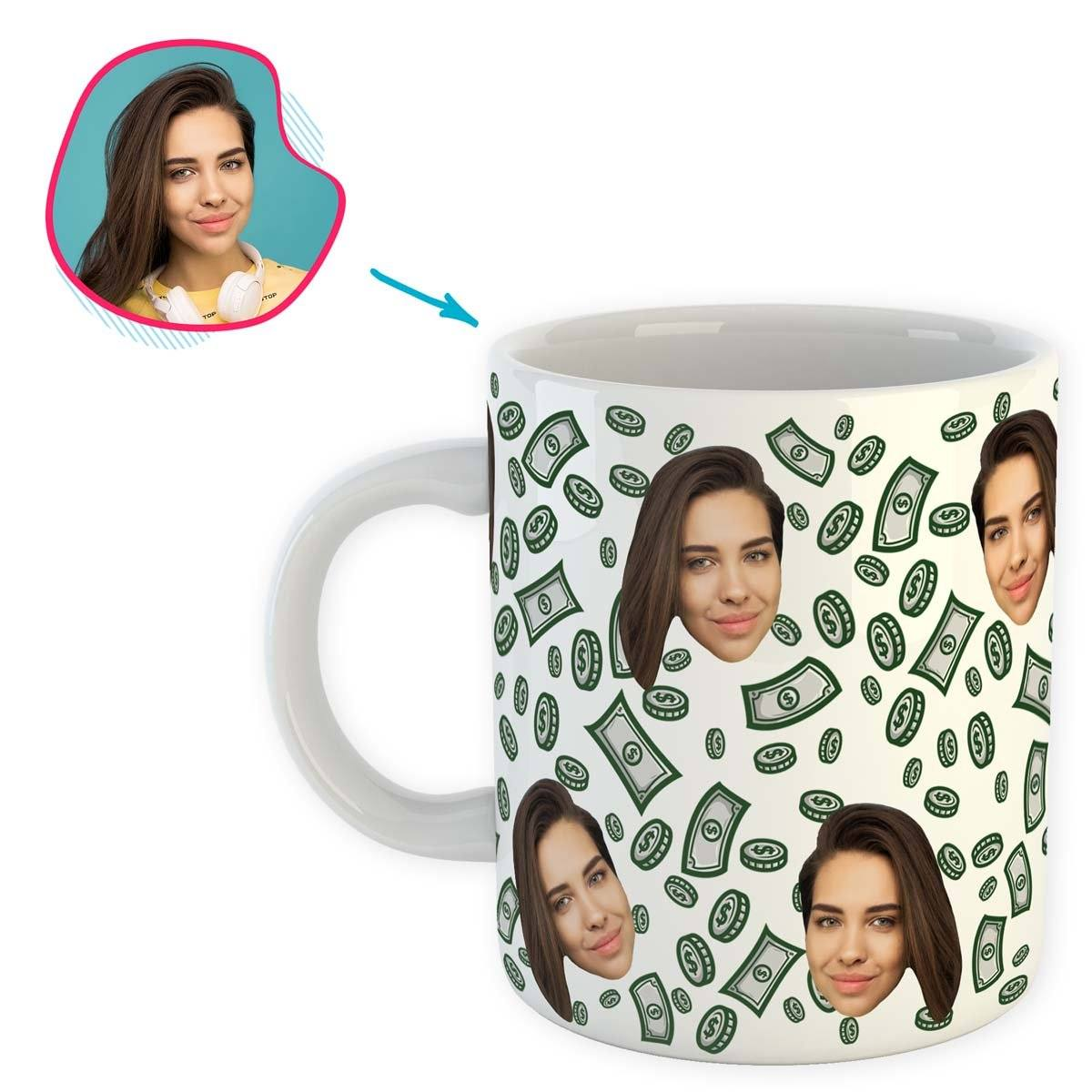 white Money mug personalized with photo of face printed on it