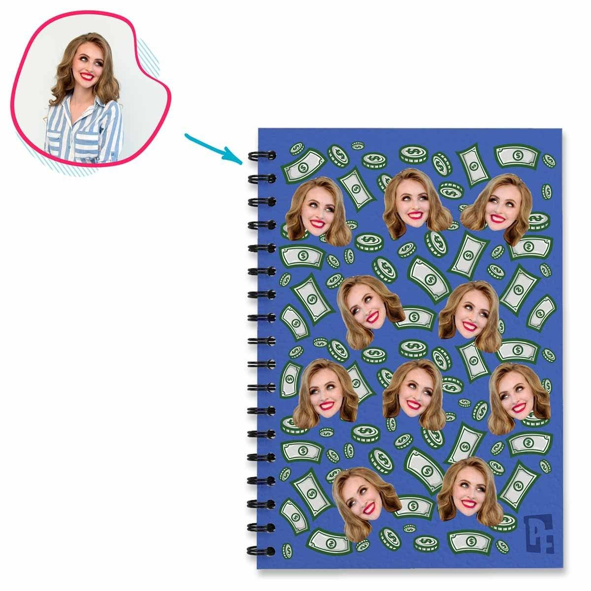darkblue Money Notebook personalized with photo of face printed on them