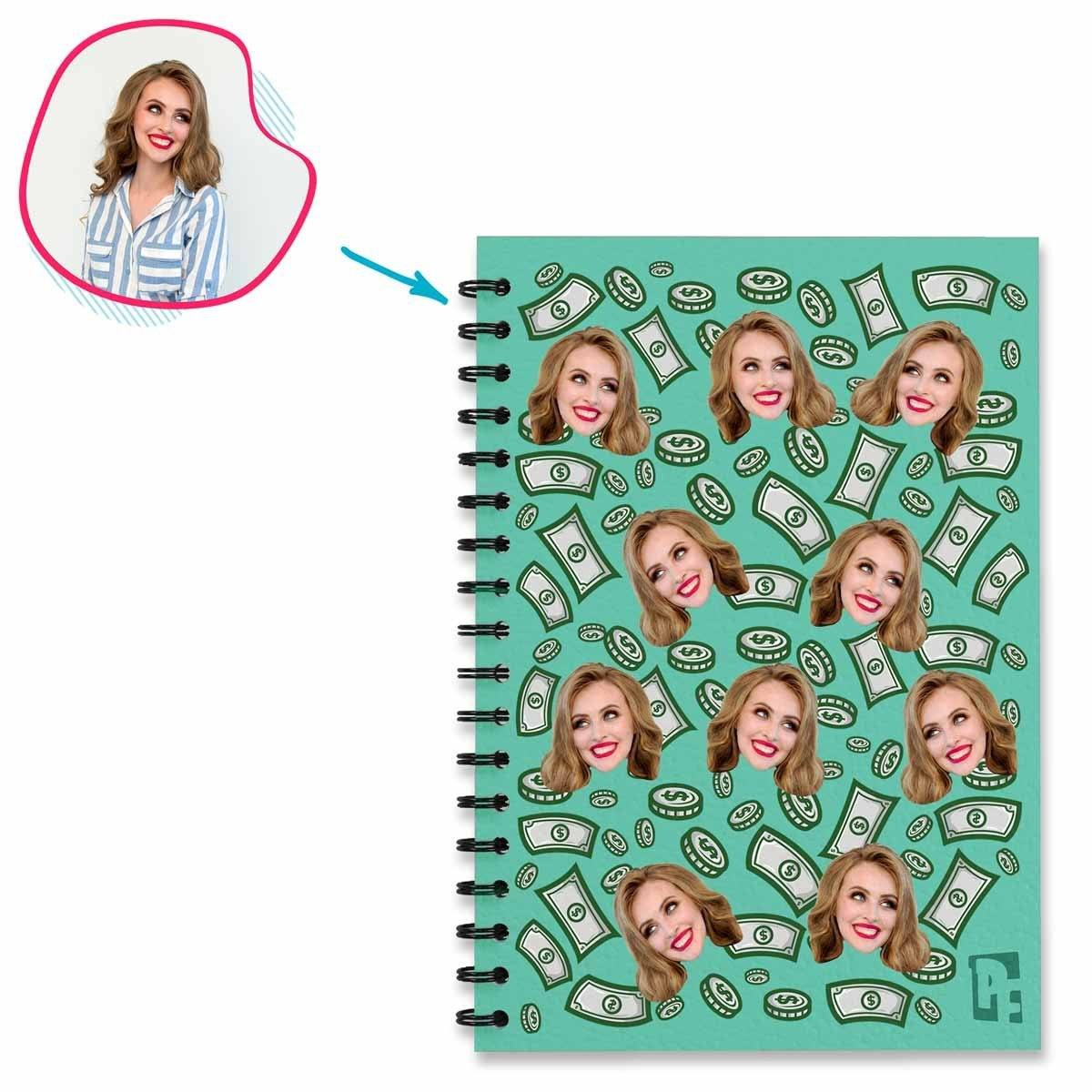 mint Money Notebook personalized with photo of face printed on them
