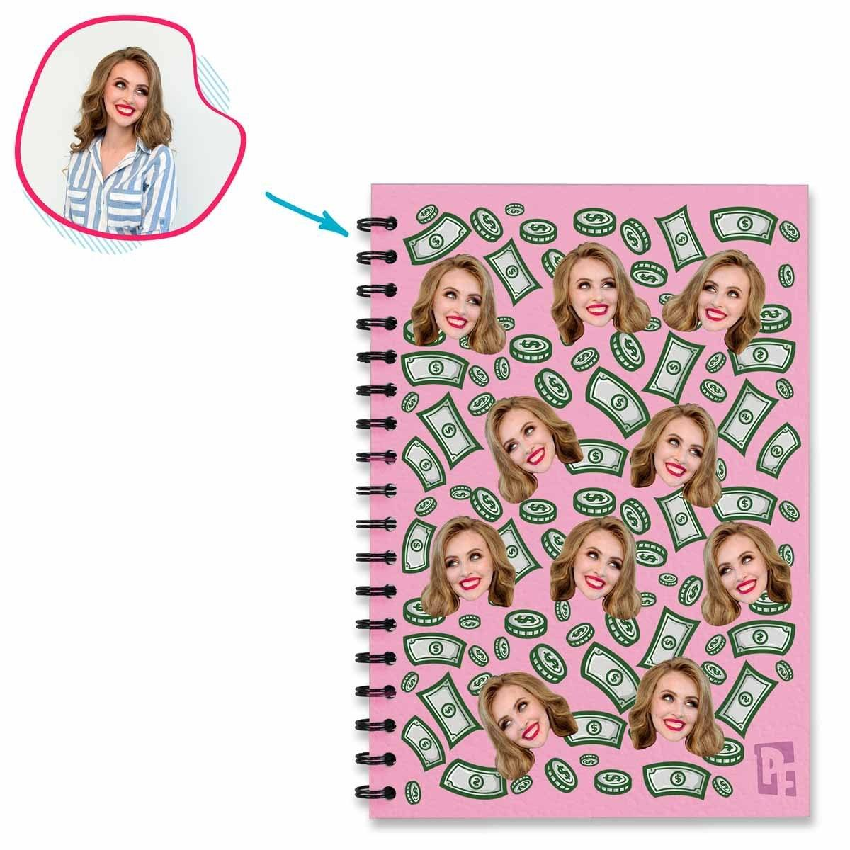 pink Money Notebook personalized with photo of face printed on them
