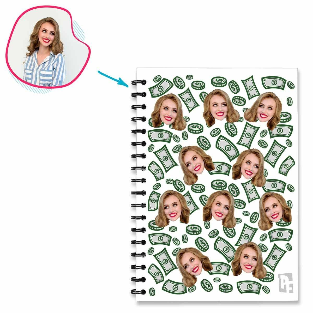 white Money Notebook personalized with photo of face printed on them