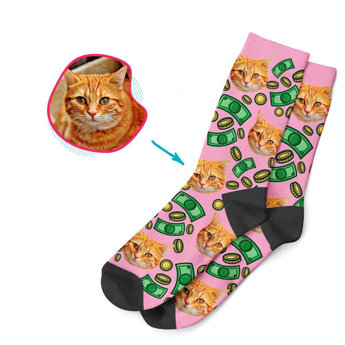 pink Money socks personalized with photo of face printed on them