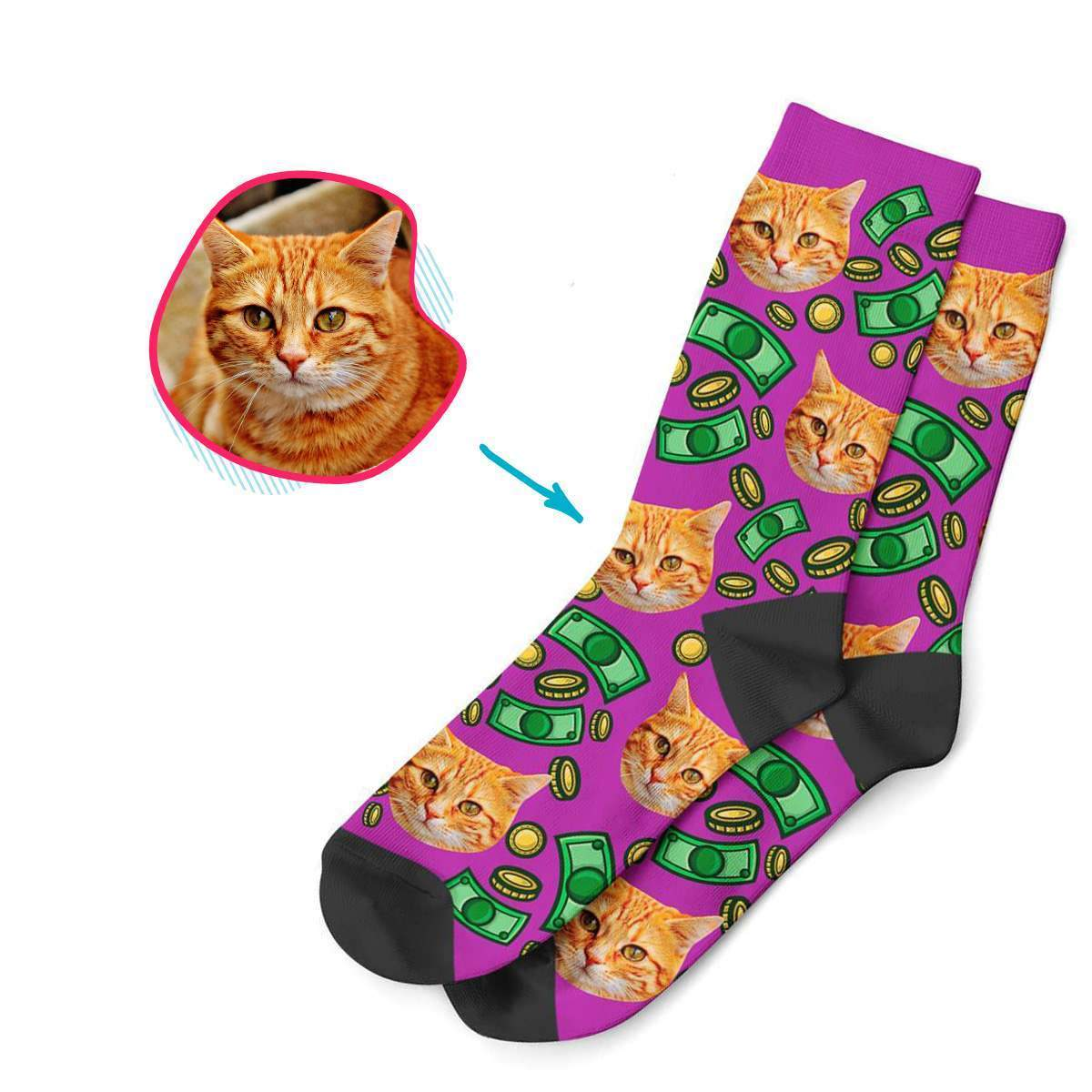 purple Money socks personalized with photo of face printed on them