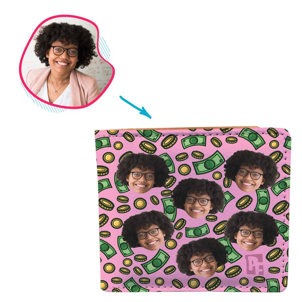 pink Money wallet personalized with photo of face printed on it