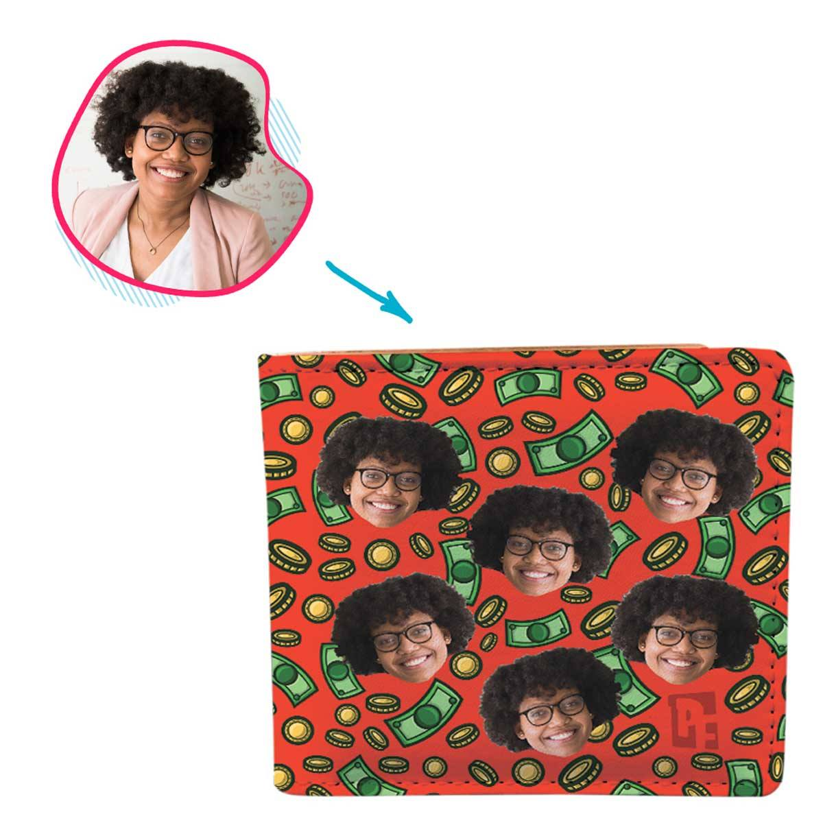 red Money wallet personalized with photo of face printed on it