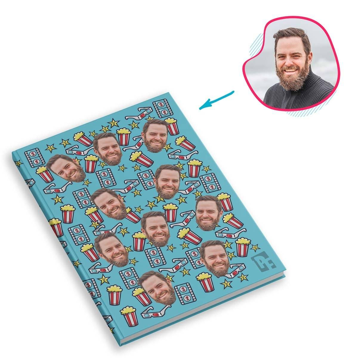 blue Movie Notebook personalized with photo of face printed on them