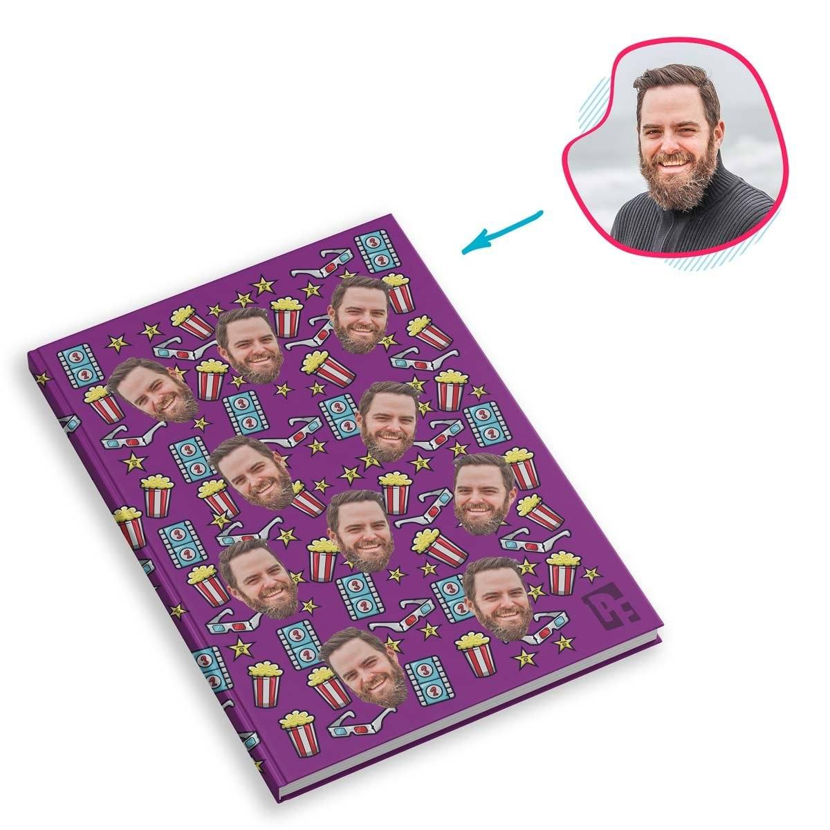 purple Movie Notebook personalized with photo of face printed on them