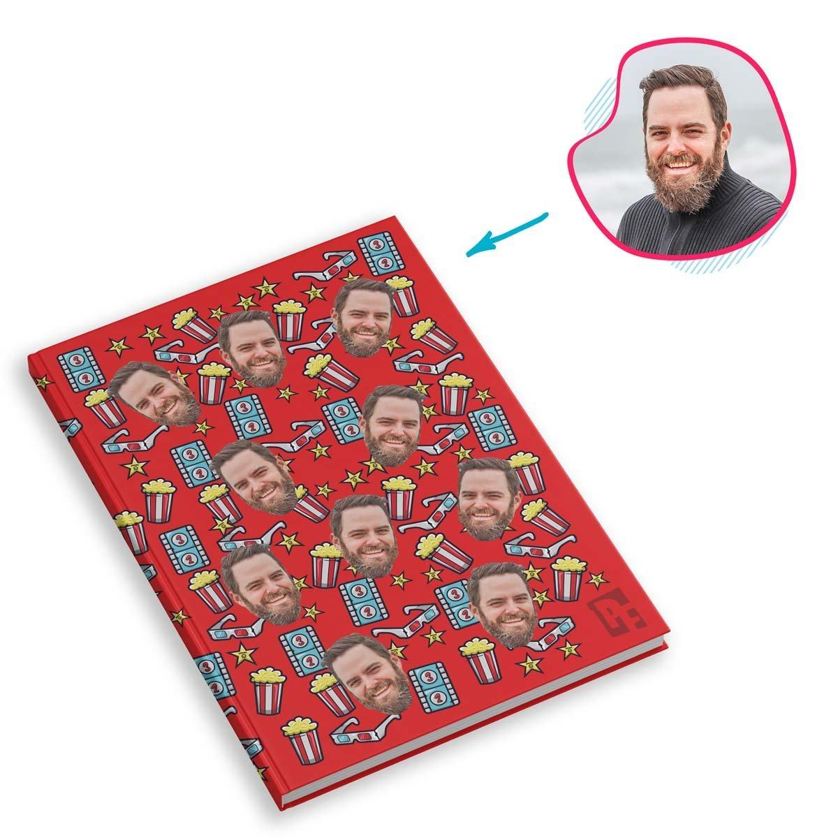 red Movie Notebook personalized with photo of face printed on them