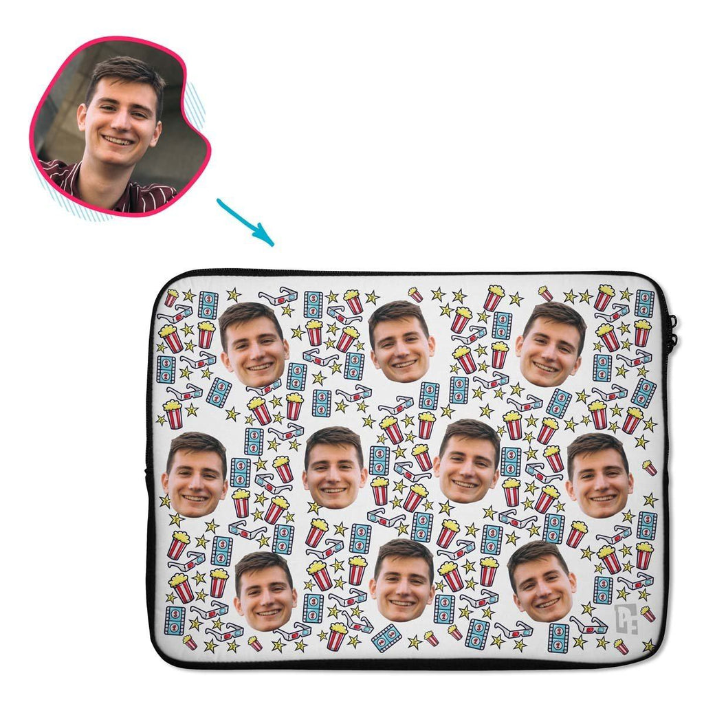 white Movie laptop sleeve personalized with photo of face printed on them