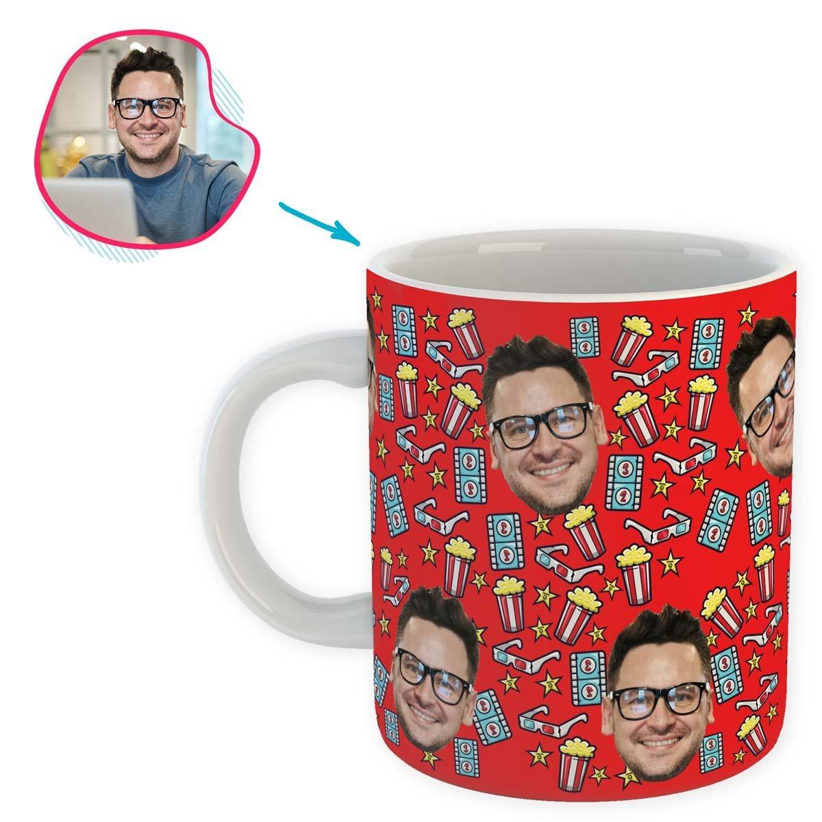 red Movie mug personalized with photo of face printed on it