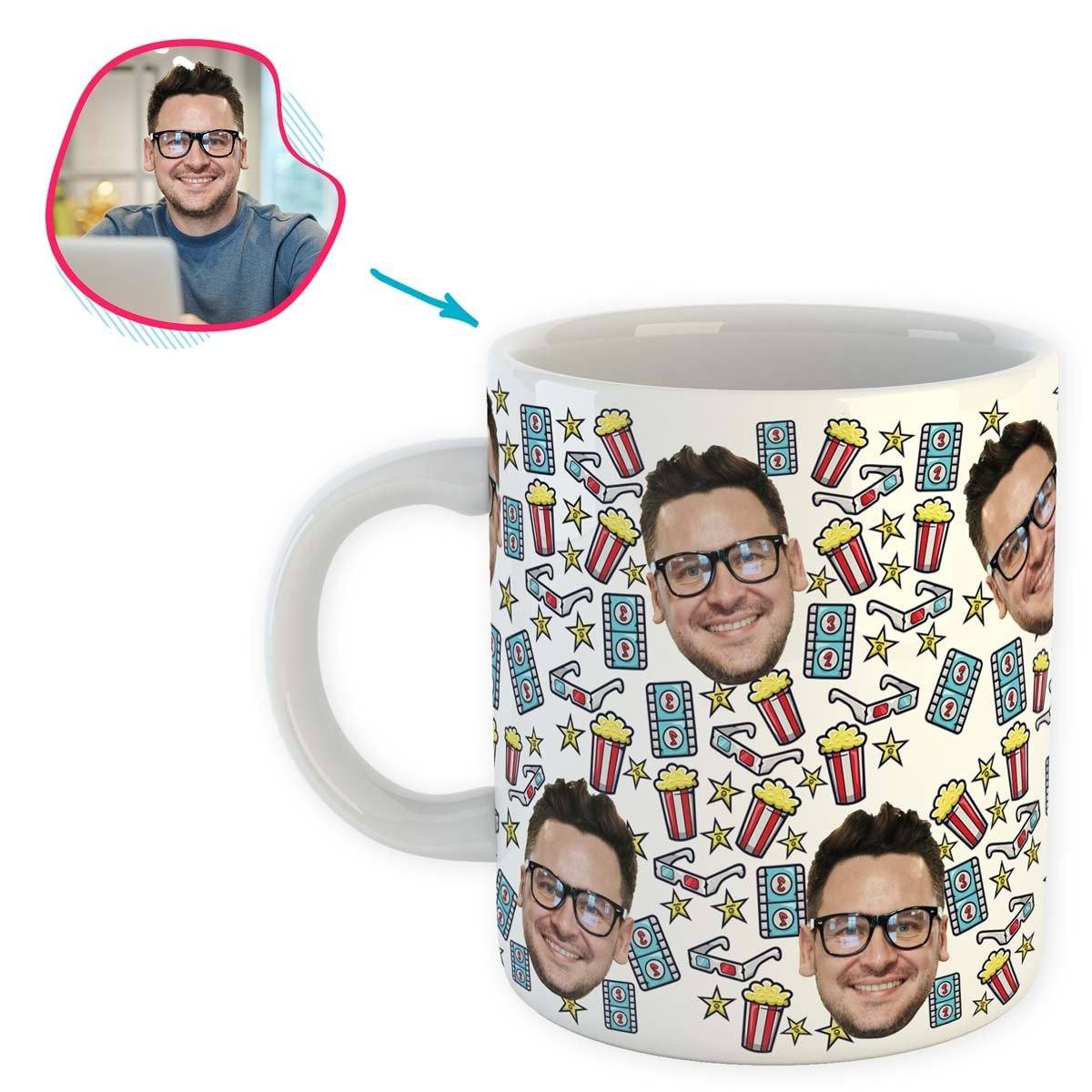 white Movie mug personalized with photo of face printed on it